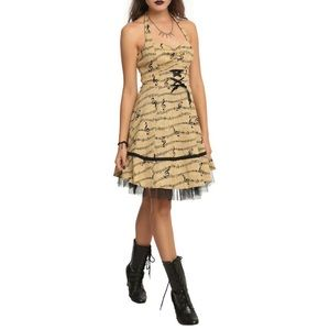 Hot Topic Tan and Black Music Note Dress Size M